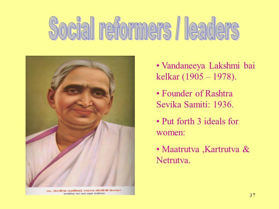 37 Vandaneeya Lakshmi bai kelkar (1905 – 1978). Founder of Rashtra Sevika Samiti: 1936.