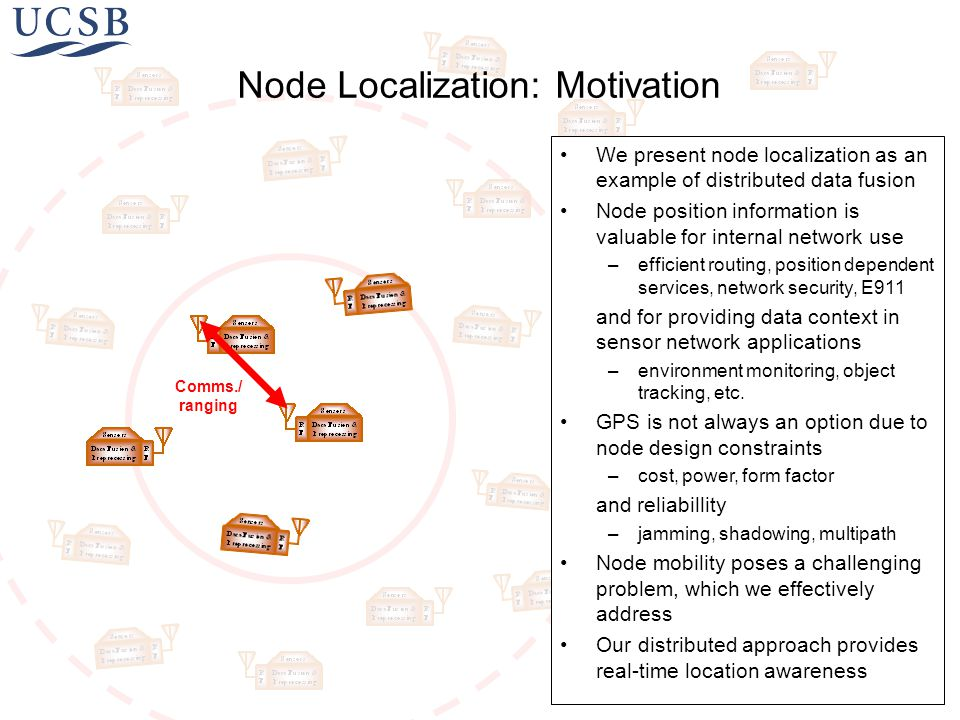 We present node localization as an example of distributed data fusion Node position information is valuable for internal network use –efficient routing, position dependent services, network security, E911 and for providing data context in sensor network applications –environment monitoring, object tracking, etc.