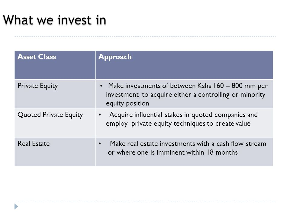 What we invest in Asset ClassApproach Private Equity Make investments of between Kshs 160 – 800 mm per investment to acquire either a controlling or minority equity position Quoted Private Equity Acquire influential stakes in quoted companies and employ private equity techniques to create value Real Estate Make real estate investments with a cash flow stream or where one is imminent within 18 months