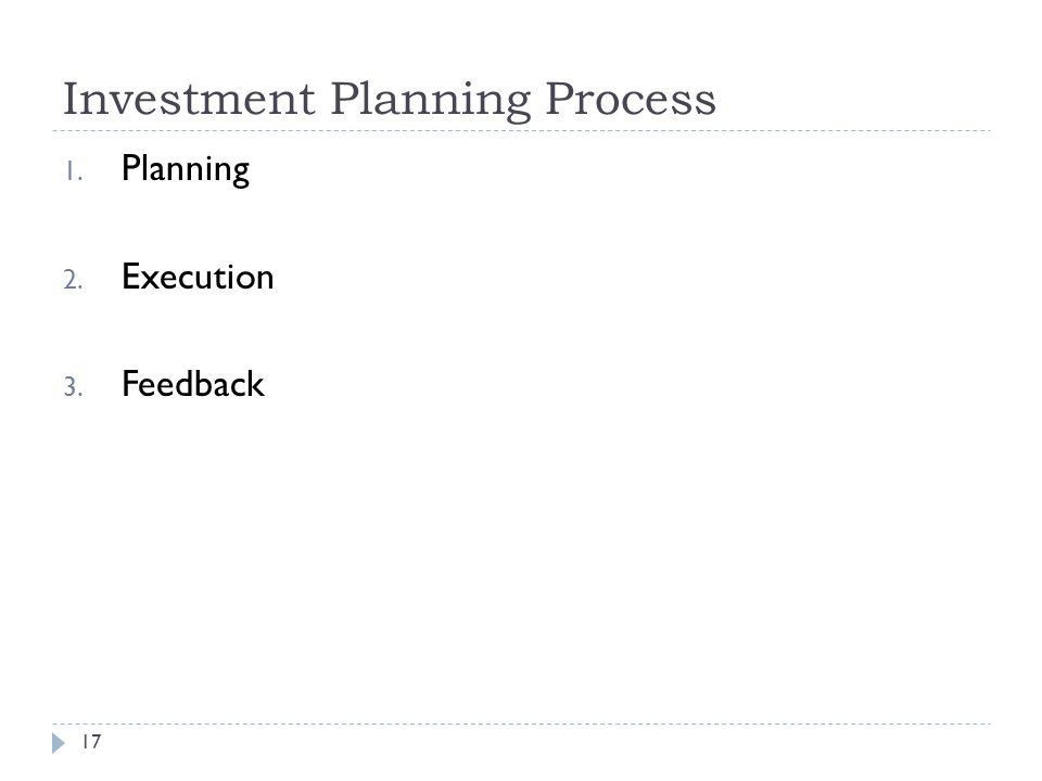 Investment Planning Process 17 1. Planning 2. Execution 3. Feedback