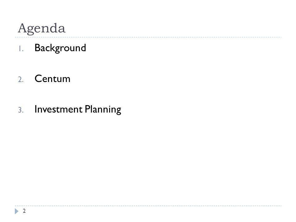 Agenda 2 1. Background 2. Centum 3. Investment Planning