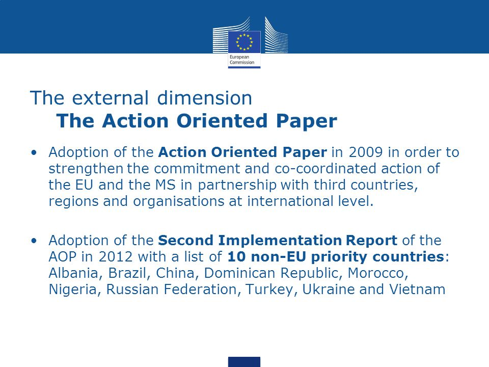 The external dimension The Action Oriented Paper Adoption of the Action Oriented Paper in 2009 in order to strengthen the commitment and co-coordinated action of the EU and the MS in partnership with third countries, regions and organisations at international level.