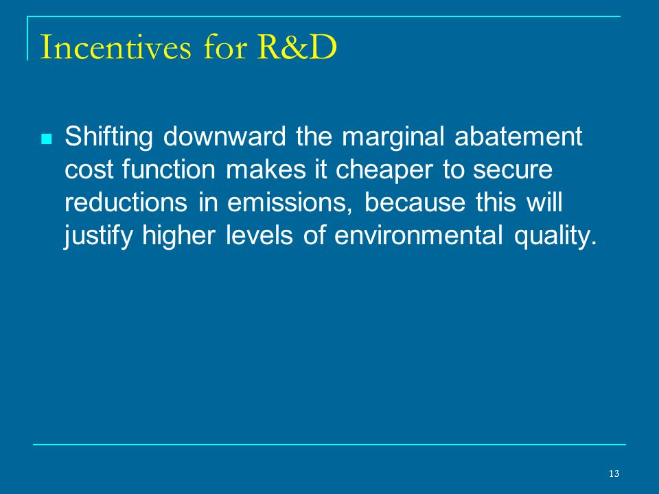 Incentives for R&D Shifting downward the marginal abatement cost function makes it cheaper to secure reductions in emissions, because this will justif