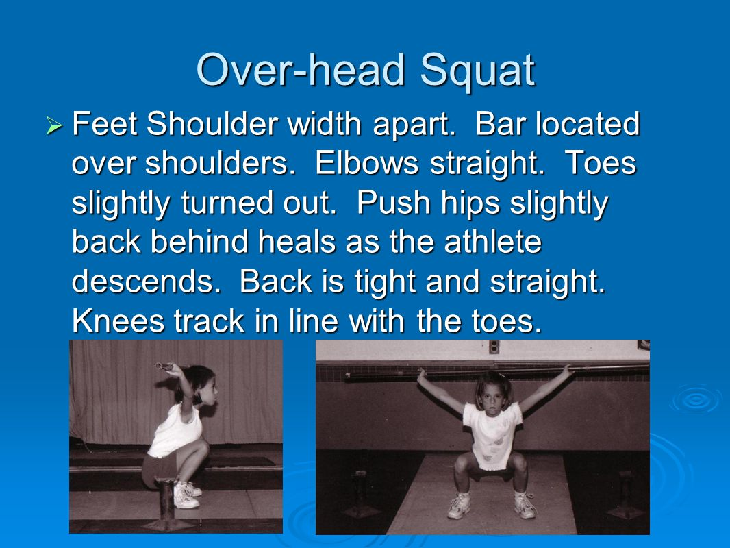 Hang Snatch from above the knees  Weight of body on heels.