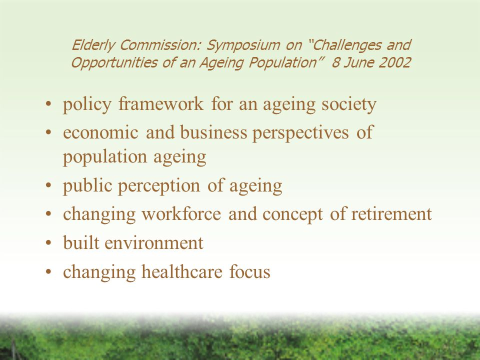 Initiatives to be considered rethinking retirement and human resources practices review volunteering activities for older persons and explore new opportunities