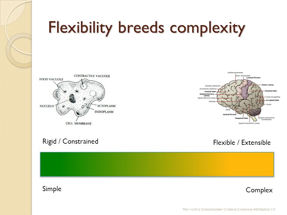 Flexibility breeds complexity Simple Complex Flexible / Extensible Rigid / Constrained This work is licensed under Creative Commons Attribution 3.0