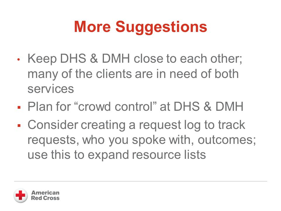 More Suggestions Keep DHS & DMH close to each other; many of the clients are in need of both services  Plan for crowd control at DHS & DMH  Consider creating a request log to track requests, who you spoke with, outcomes; use this to expand resource lists