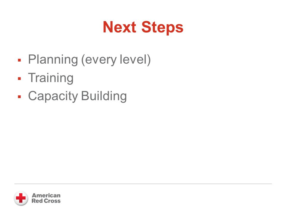 Next Steps  Planning (every level)  Training  Capacity Building
