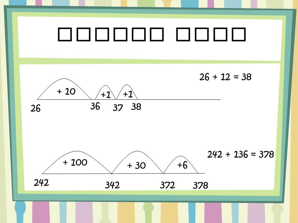 Number line 242 + 136 = 378 242 342 + 100 + 30 +6 372 378 + 10 26 +1 36 +1 37 38 26 + 12 =38