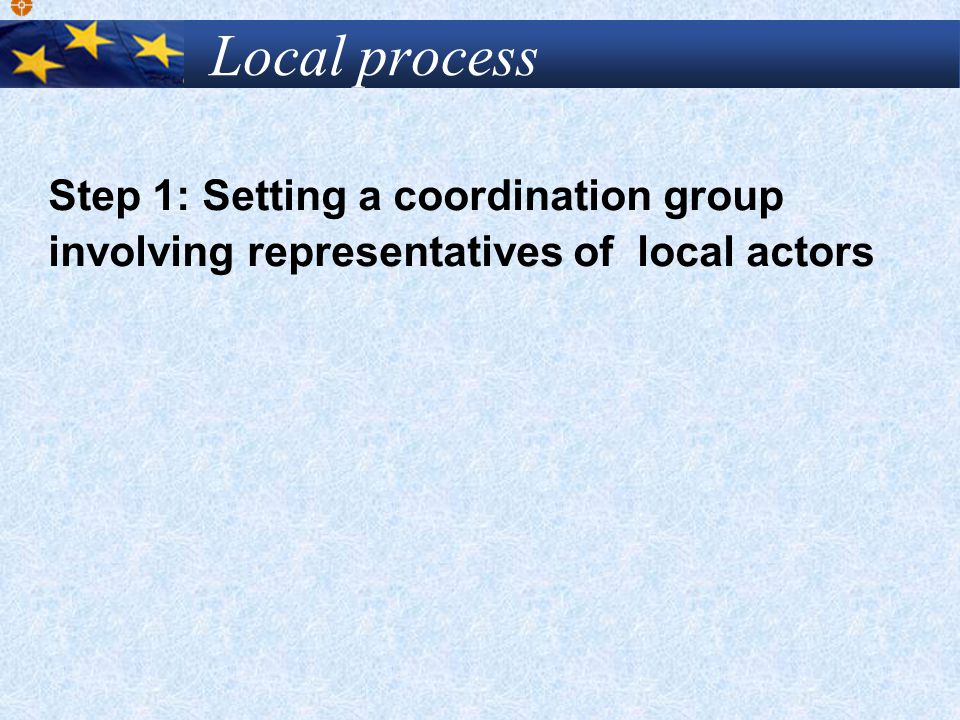 Local process Step 1: Setting a coordination group involving representatives of local actors