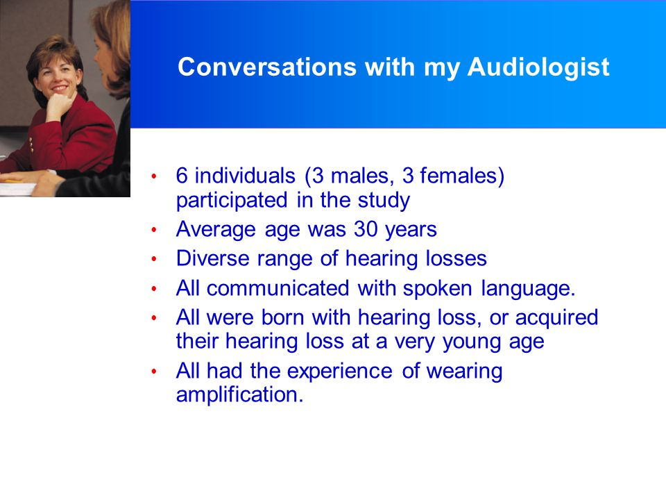 Conversations with my Audiologist 6 individuals (3 males, 3 females) participated in the study Average age was 30 years Diverse range of hearing losses All communicated with spoken language.
