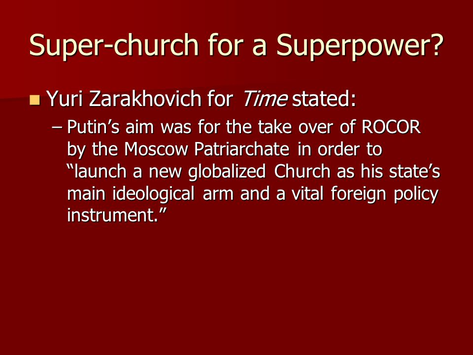 Super-church for a Superpower.