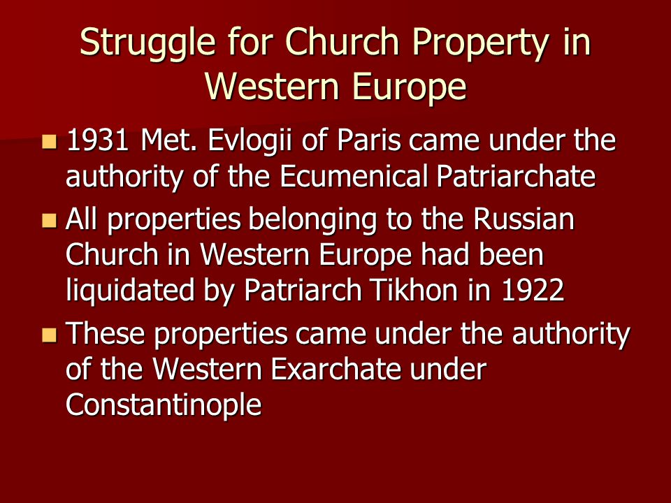 Struggle for Church Property in Western Europe 1931 Met.