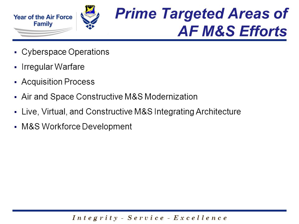 I n t e g r i t y - S e r v i c e - E x c e l l e n c e  Cyberspace Operations  Irregular Warfare  Acquisition Process  Air and Space Constructive M&S Modernization  Live, Virtual, and Constructive M&S Integrating Architecture  M&S Workforce Development Prime Targeted Areas of AF M&S Efforts