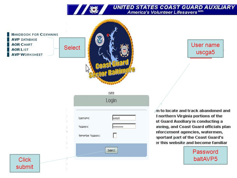 User Name uscga5 PASSWORD baltAVP5 Click submit Select Password baltAVP5 User name uscga5
