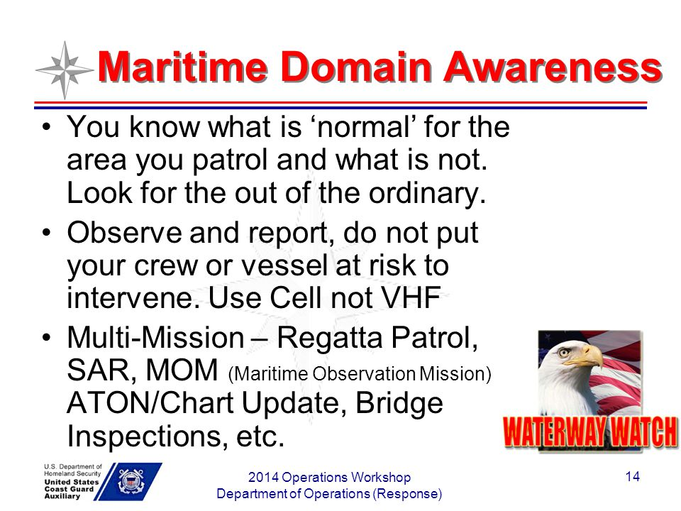 2014 Operations Workshop Department of Operations (Response) 14 Maritime Domain Awareness You know what is 'normal' for the area you patrol and what i