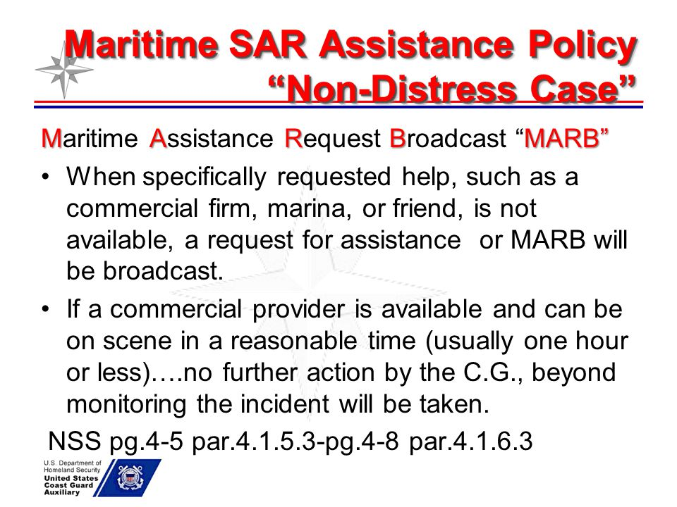 "Maritime SAR Assistance Policy ""Non-Distress Case"" MARBMARB"" Maritime Assistance Request Broadcast ""MARB"" When specifically requested help, such as a"