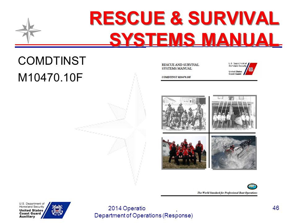 RESCUE & SURVIVAL SYSTEMS MANUAL COMDTINST M10470.10F 2014 Operations Workshop Department of Operations (Response) 46