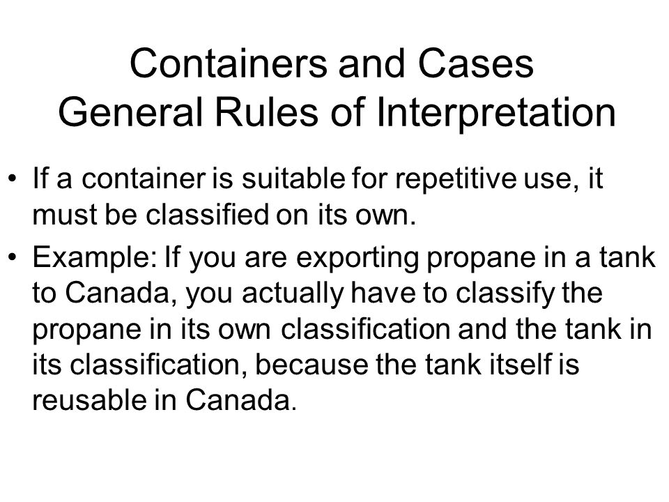 Containers and Cases General Rules of Interpretation If a container is suitable for repetitive use, it must be classified on its own.