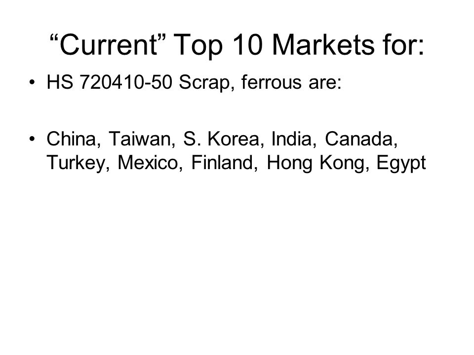 Current Top 10 Markets for: HS 720410-50 Scrap, ferrous are: China, Taiwan, S.