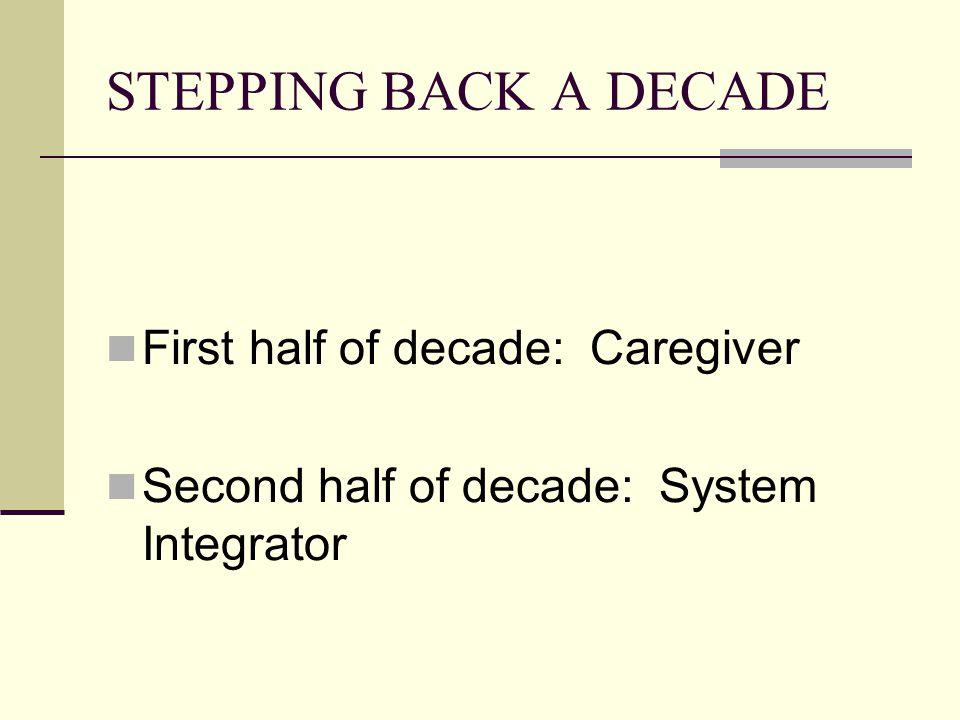 STEPPING BACK A DECADE First half of decade: Caregiver Second half of decade: System Integrator