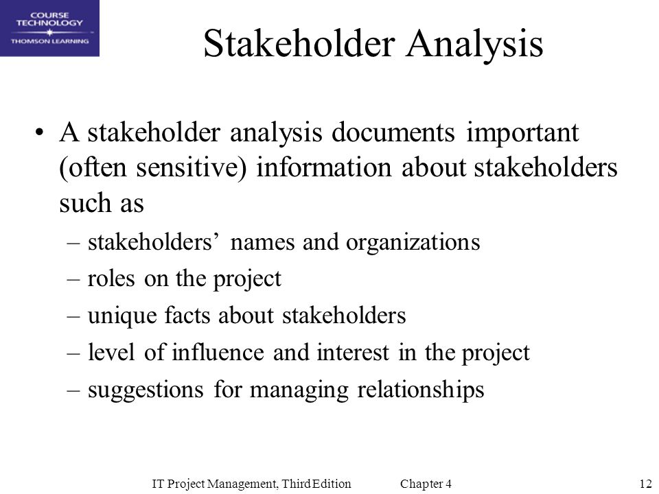 12IT Project Management, Third Edition Chapter 4 Stakeholder Analysis A stakeholder analysis documents important (often sensitive) information about stakeholders such as –stakeholders' names and organizations –roles on the project –unique facts about stakeholders –level of influence and interest in the project –suggestions for managing relationships