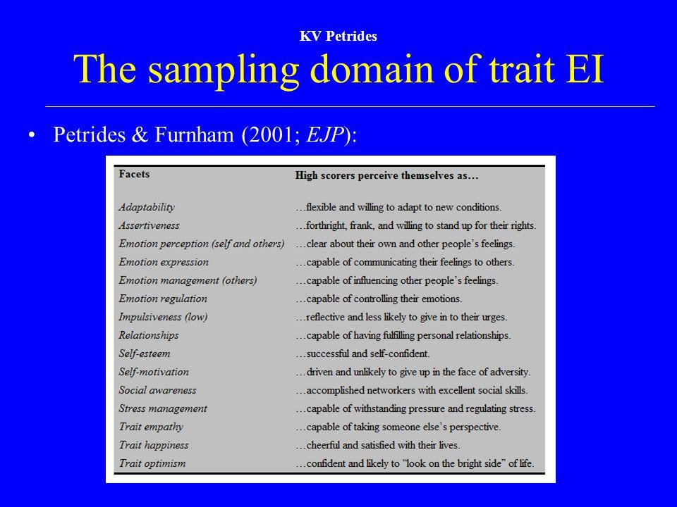KV Petrides The sampling domain of trait EI Petrides & Furnham (2001; EJP):