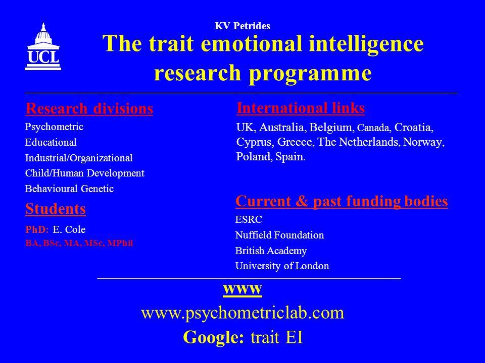 KV Petrides The trait emotional intelligence research programme International links UK, Australia, Belgium, Canada, Croatia, Cyprus, Greece, The Nethe