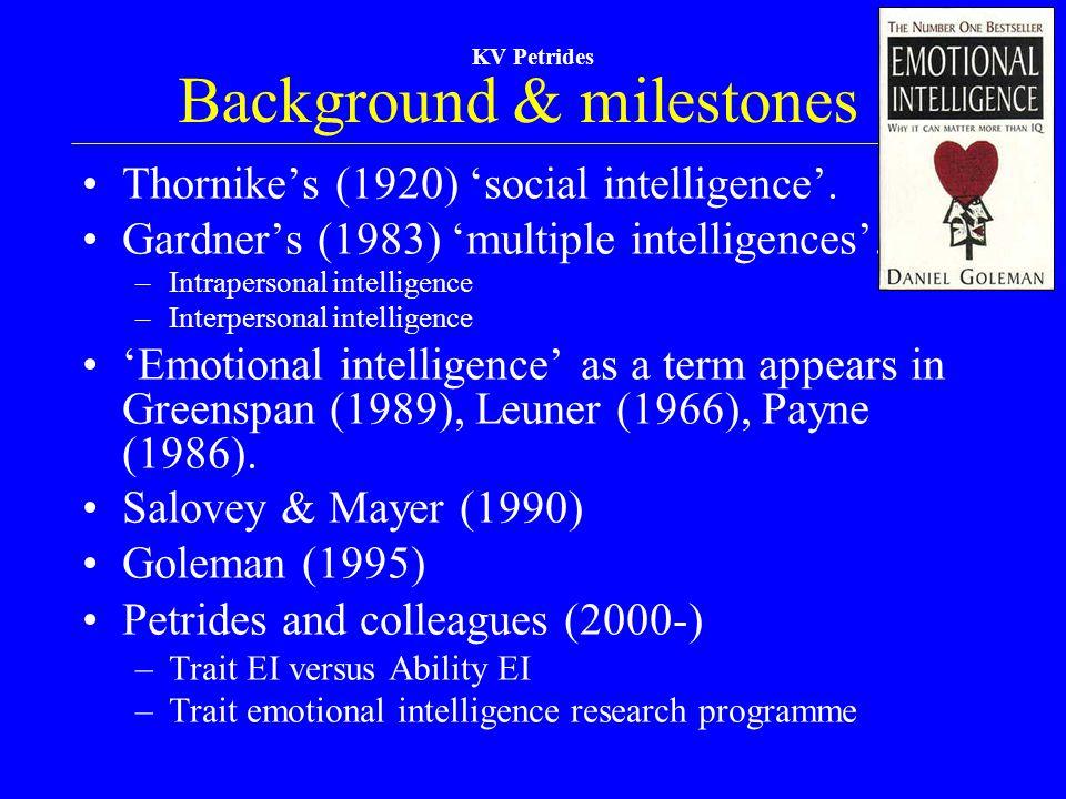 KV Petrides Background & milestones Thornike's (1920) 'social intelligence'. Gardner's (1983) 'multiple intelligences'. –Intrapersonal intelligence –I