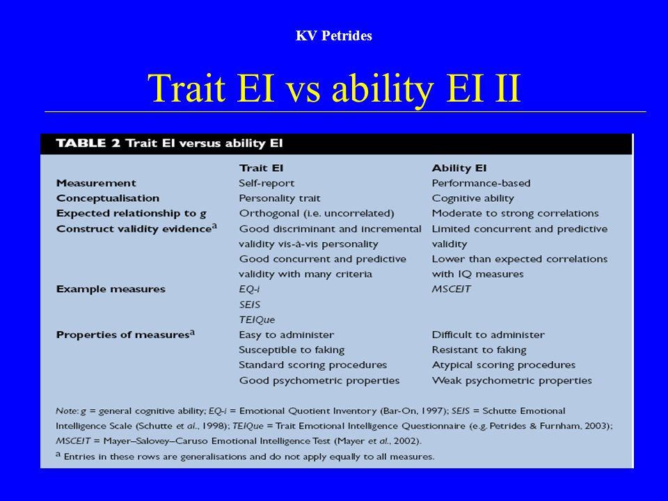 KV Petrides Trait EI vs ability EI II