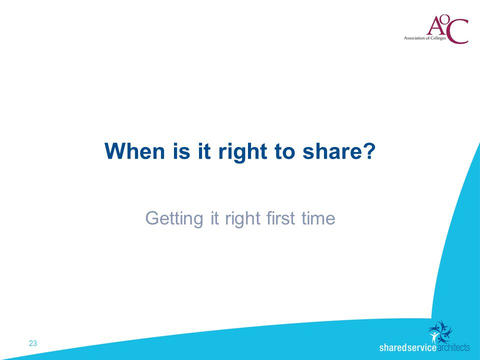 When is it right to share Getting it right first time 23
