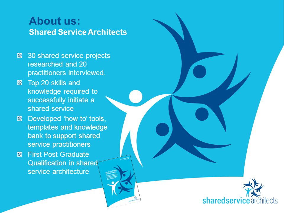About us: Shared Service Architects 30 shared service projects researched and 20 practitioners interviewed.