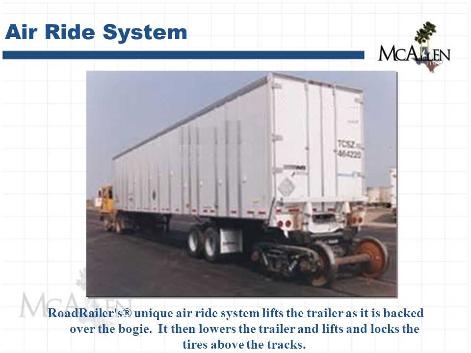RoadRailer s® unique air ride system lifts the trailer as it is backed over the bogie.