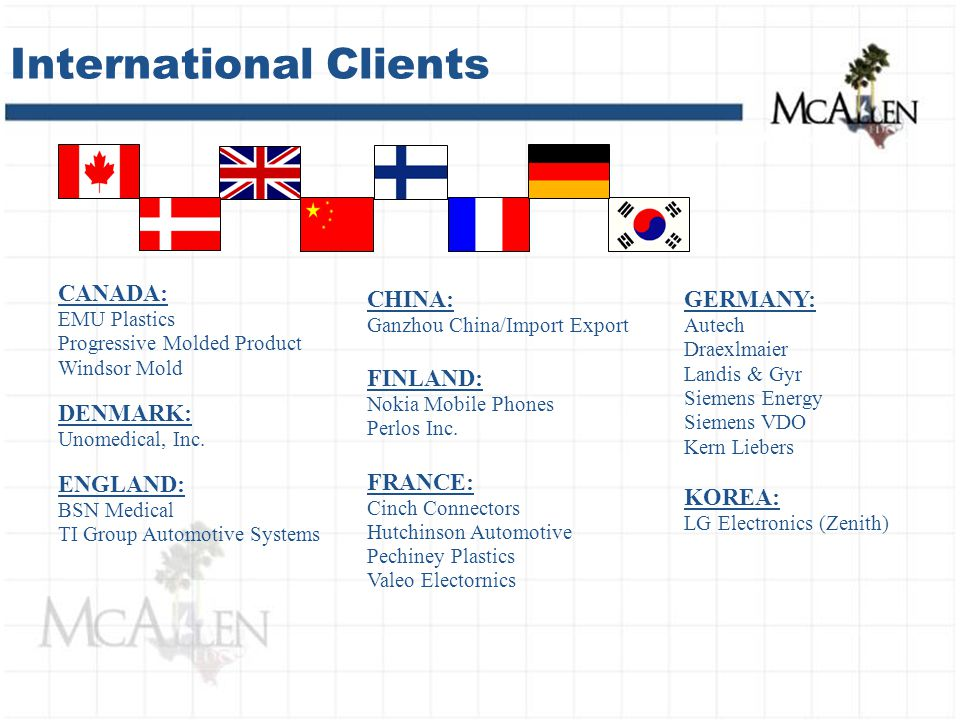 International Clients CANADA: EMU Plastics Progressive Molded Product Windsor Mold DENMARK: Unomedical, Inc.