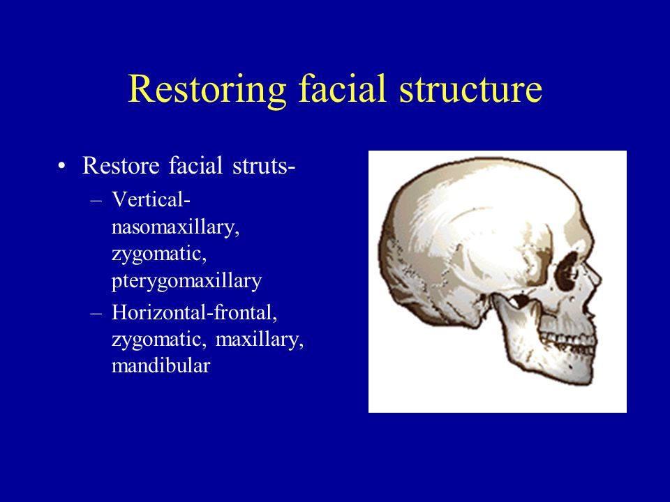 Restoring facial structure Restore facial struts- –Vertical- nasomaxillary, zygomatic, pterygomaxillary –Horizontal-frontal, zygomatic, maxillary, mandibular