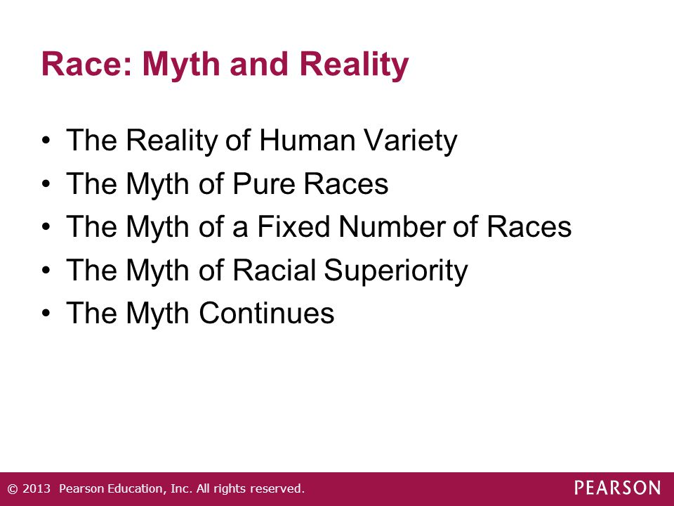 Race: Myth and Reality The Reality of Human Variety The Myth of Pure Races The Myth of a Fixed Number of Races The Myth of Racial Superiority The Myth