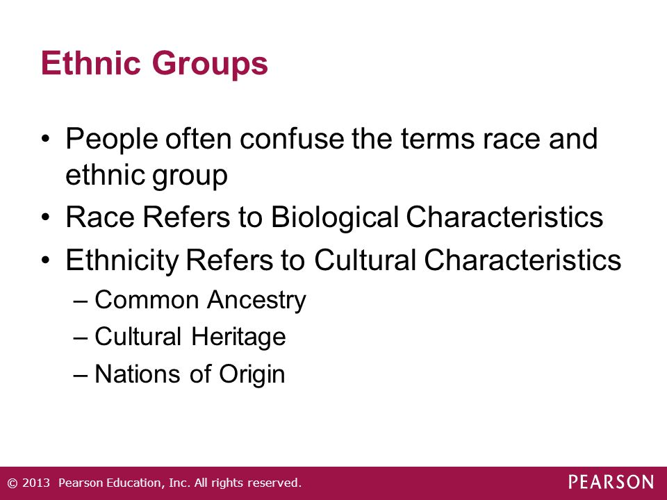 Ethnic Groups People often confuse the terms race and ethnic group Race Refers to Biological Characteristics Ethnicity Refers to Cultural Characterist