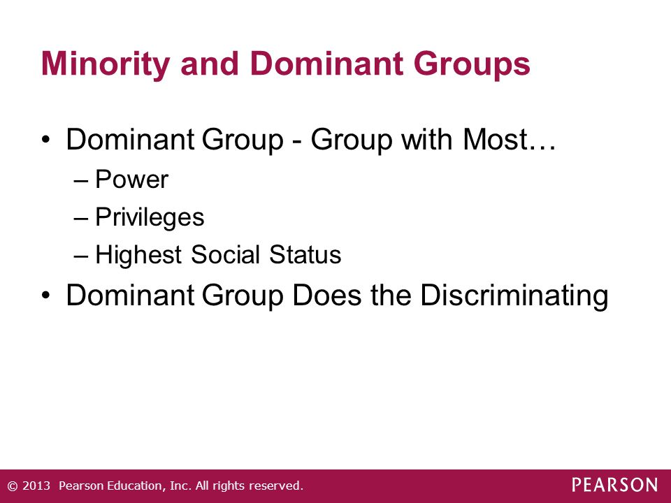 Minority and Dominant Groups Dominant Group - Group with Most… –Power –Privileges –Highest Social Status Dominant Group Does the Discriminating © 2013
