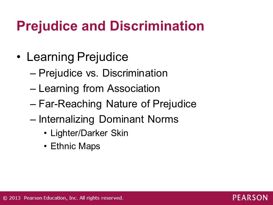 Prejudice and Discrimination Learning Prejudice –Prejudice vs. Discrimination –Learning from Association –Far-Reaching Nature of Prejudice –Internaliz