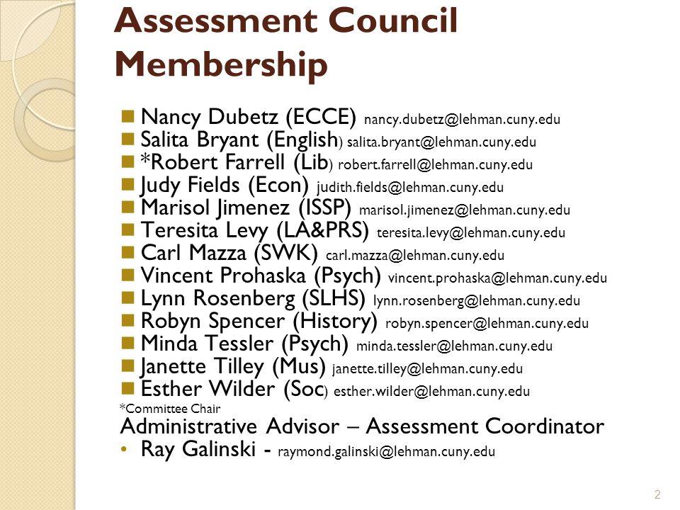 Assessment Council Membership Nancy Dubetz (ECCE) nancy.dubetz@lehman.cuny.edu Salita Bryant (English ) salita.bryant@lehman.cuny.edu *Robert Farrell