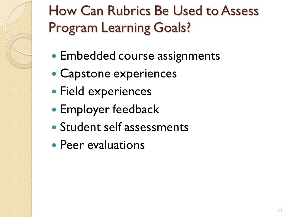 How Can Rubrics Be Used to Assess Program Learning Goals.