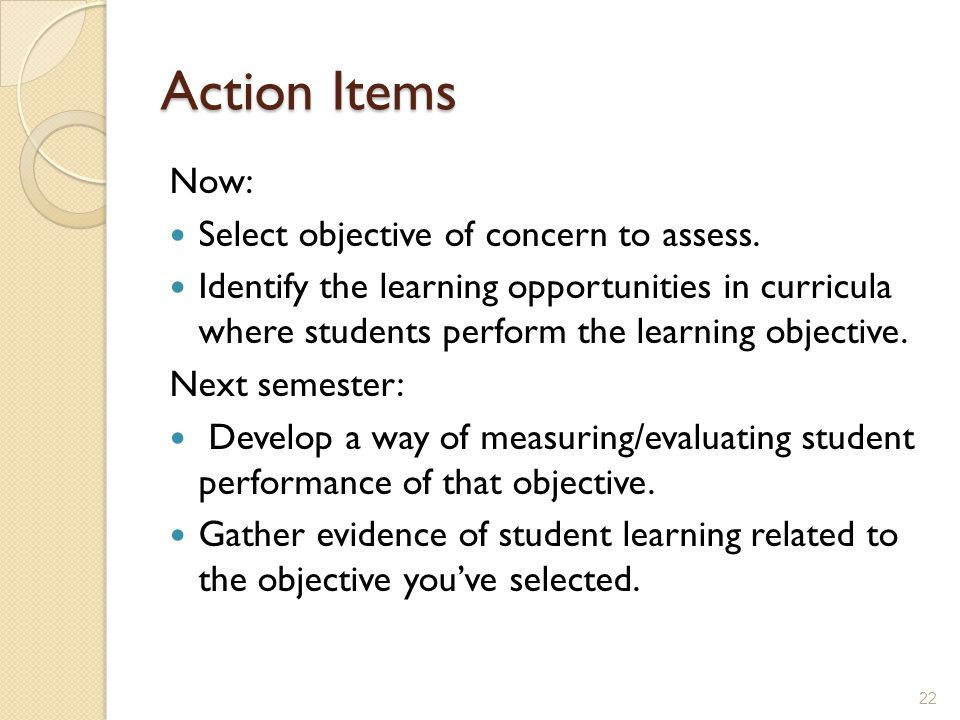 Action Items Now: Select objective of concern to assess.