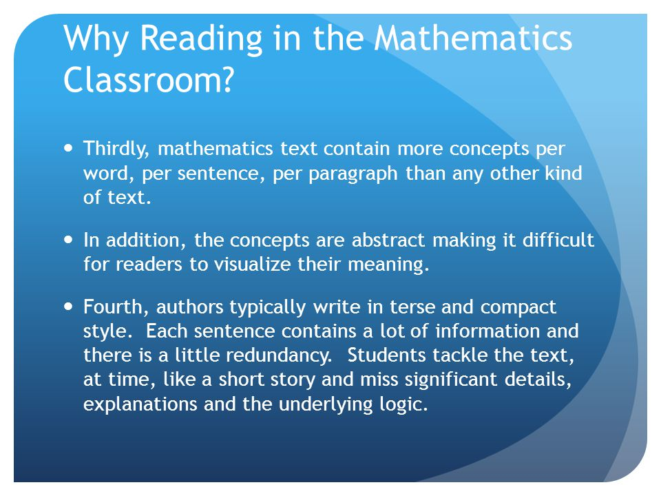 Why Reading in the Mathematics Classroom.