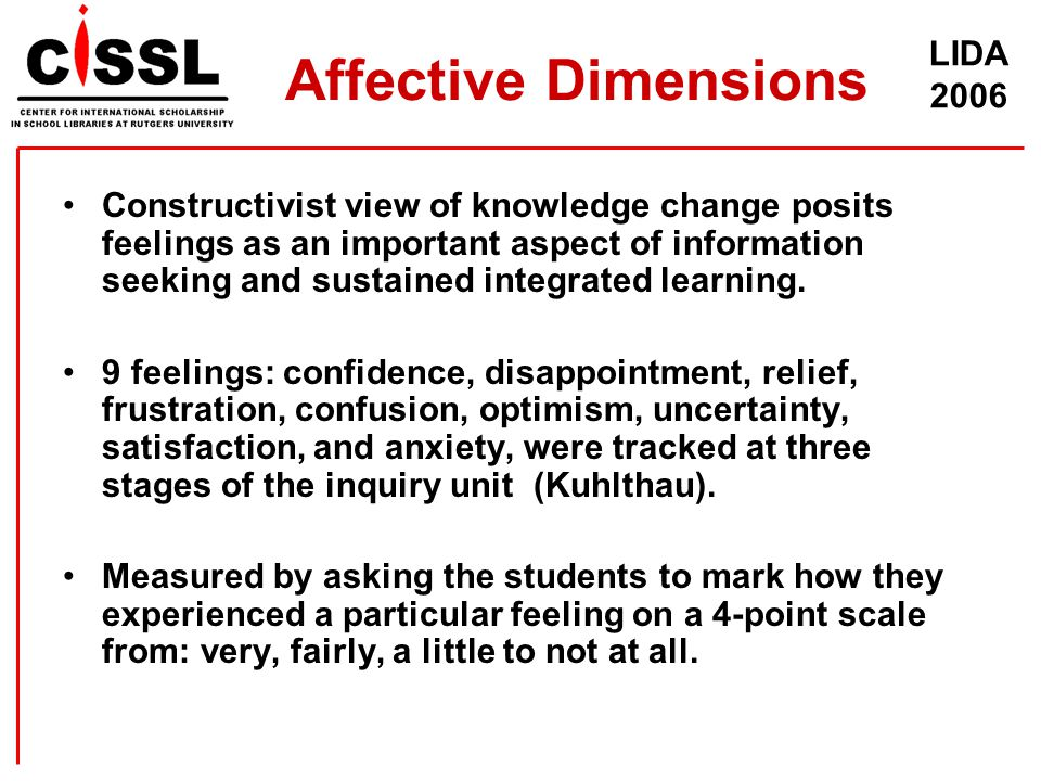 LIDA 2006 Affective Dimensions Constructivist view of knowledge change posits feelings as an important aspect of information seeking and sustained int