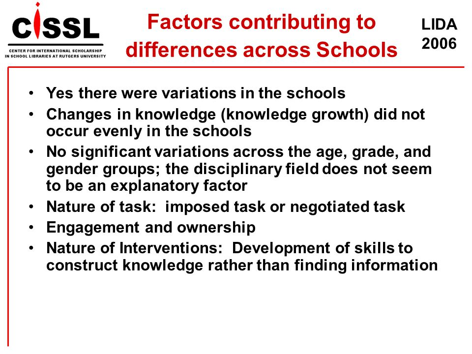 LIDA 2006 Factors contributing to differences across Schools Yes there were variations in the schools Changes in knowledge (knowledge growth) did not