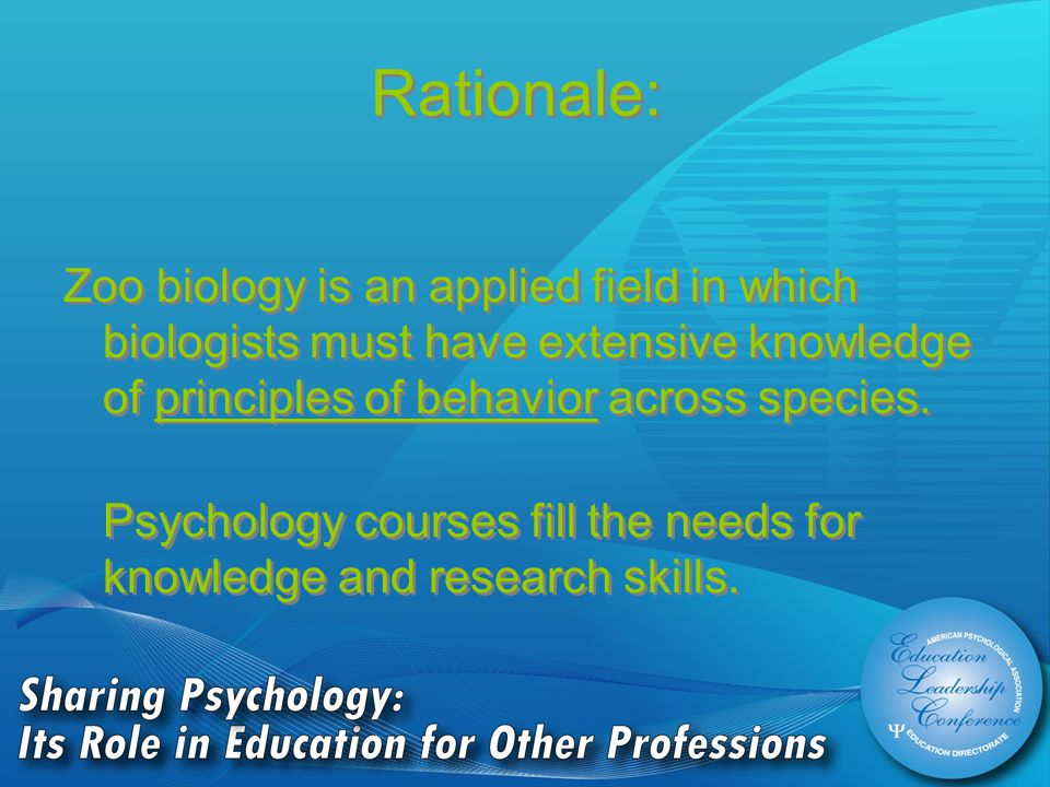 Rationale: Zoo biology is an applied field in which biologists must have extensive knowledge of principles of behavior across species.
