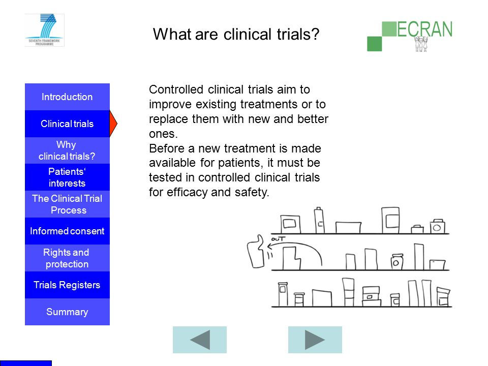 Introduction Clinical trials Why clinical trials? The Clinical Trial Process Informed consent Patients' interests Rights and protection Trials Registe