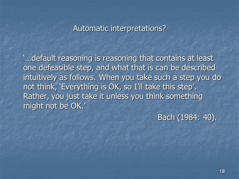 18 Automatic interpretations.