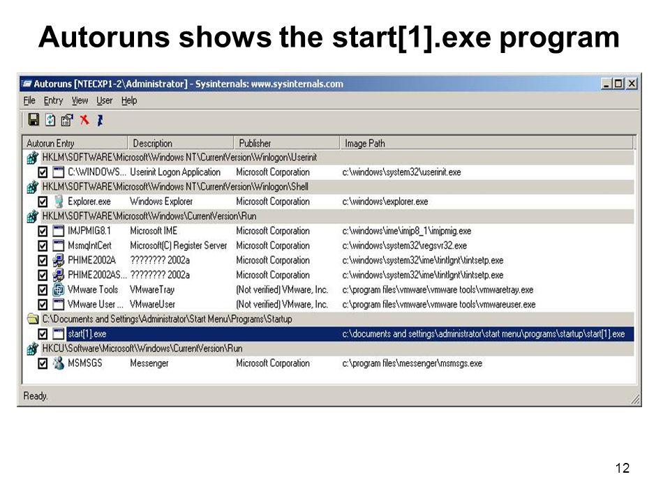 12 Autoruns shows the start[1].exe program