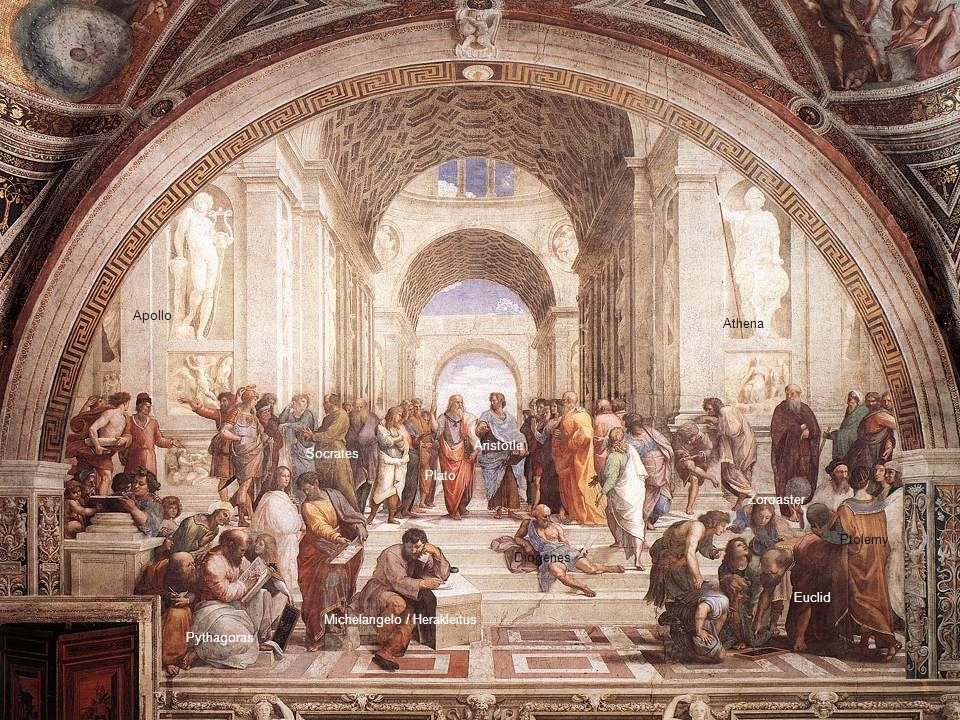 Apollo Pythagoras Socrates Plato Aristotle Diogenes Michelangelo / Herakleitus Athena Ptolemy Euclid Zoroaster
